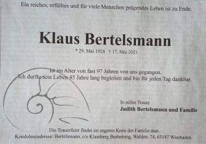 Klaus Bertelsmann - 29.05.1924 - 17.05.2021