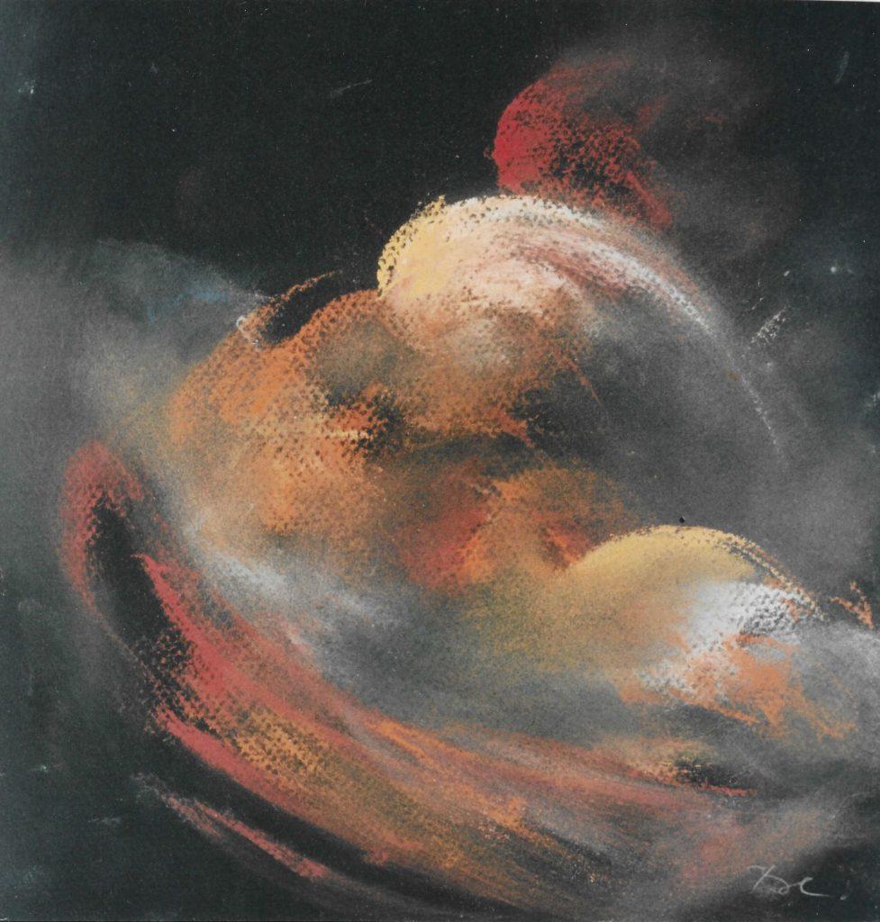 Formkerne im Raum, Pastell, 43×43 cm, 2004