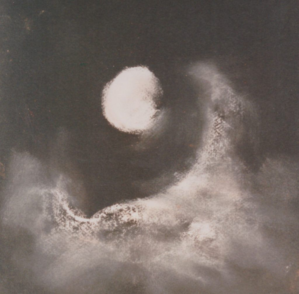 Mond - Pastell, 43x43 cm