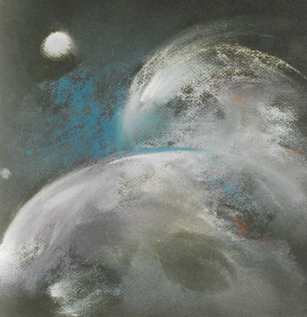 Schöpfungsrythmen der Natur - Pastell, 43x43 cm, Zyklus der Weltraumbilder 2002
